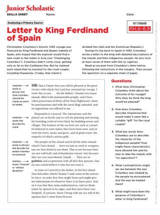 Christopher Columbus Letter To King Ferdinand.Map Skills Free Middle School Resources Maps Worksheets